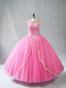 Classical Scoop Sleeveless Tulle 15 Quinceanera Dress Beading and Appliques Lace Up