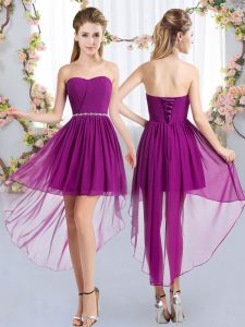 Purple Quinceanera Court of Honor Dress Wedding Party with Beading Strapless Sleeveless Lace Up