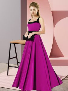 Modest Floor Length Fuchsia Quinceanera Court of Honor Dress Square Sleeveless Zipper