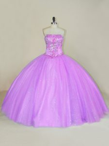 Floor Length Lilac Quinceanera Dresses Strapless Sleeveless Lace Up