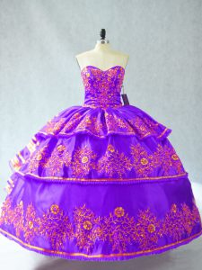 Amazing Sleeveless Lace Up Floor Length Embroidery and Ruffled Layers Sweet 16 Dress