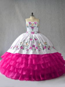 Fuchsia Sweetheart Neckline Embroidery and Ruffled Layers Ball Gown Prom Dress Sleeveless Lace Up