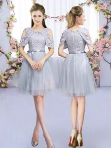 Sleeveless Tulle Mini Length Zipper Quinceanera Court Dresses in Grey with Lace and Belt