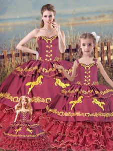 Sleeveless Floor Length Embroidery and Ruffled Layers Zipper Quinceanera Gown with Burgundy