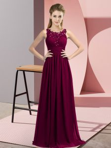 Scoop Sleeveless Quinceanera Court Dresses Floor Length Beading and Appliques Dark Purple Chiffon