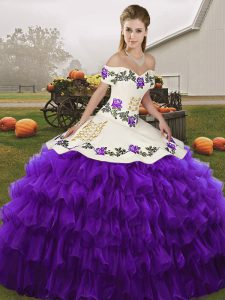 White And Purple Lace Up Off The Shoulder Embroidery and Ruffled Layers Ball Gown Prom Dress Organza Sleeveless