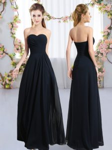 Pretty Floor Length Empire Sleeveless Navy Blue Court Dresses for Sweet 16 Zipper