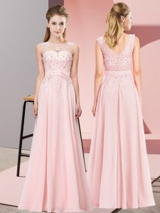 Scoop Sleeveless Zipper Damas Dress Baby Pink Chiffon