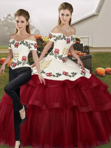 Adorable Off The Shoulder Sleeveless 15 Quinceanera Dress Brush Train Embroidery and Ruffled Layers Wine Red Tulle