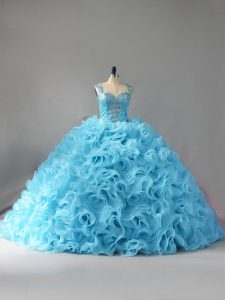 Straps Sleeveless Court Train Zipper Quinceanera Dress Baby Blue Fabric With Rolling Flowers