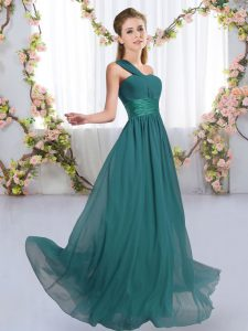 Inexpensive Peacock Green Empire One Shoulder Sleeveless Chiffon Floor Length Lace Up Ruching Dama Dress