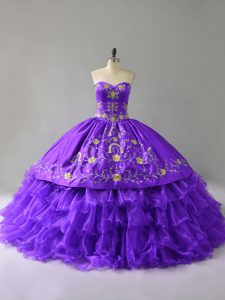 New Arrival Sleeveless Embroidery and Ruffles Lace Up Sweet 16 Dresses