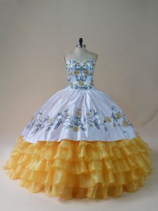 Spectacular Yellow And White Sleeveless Floor Length Embroidery and Ruffled Layers Lace Up Vestidos de Quinceanera