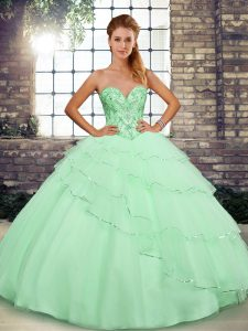 Sweet Lace Up Sweet 16 Quinceanera Dress Apple Green for Sweet 16 and Quinceanera with Beading and Ruffled Layers Brush Train