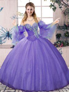 Cheap Sweetheart Sleeveless Tulle Sweet 16 Dress Beading Lace Up