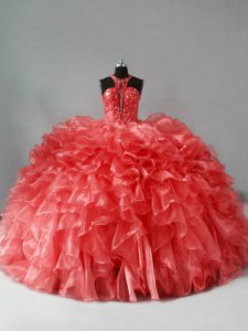 Coral Red Quinceanera Gowns Sweet 16 and Quinceanera with Beading and Ruffles Halter Top Sleeveless Brush Train Zipper