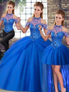Blue Halter Top Lace Up Beading and Pick Ups 15th Birthday Dress Brush Train Sleeveless