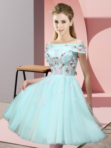 Trendy Short Sleeves Knee Length Appliques Lace Up Dama Dress for Quinceanera with Apple Green
