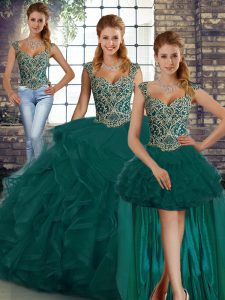 Excellent Straps Sleeveless Quinceanera Dresses Floor Length Beading and Ruffles Peacock Green Tulle