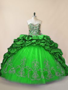 Simple Green Quince Ball Gowns Sweetheart Sleeveless Brush Train Lace Up