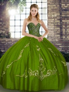 Olive Green Ball Gowns Tulle Sweetheart Sleeveless Beading and Embroidery Floor Length Lace Up Quinceanera Gown