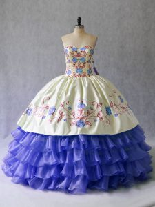 High Quality Satin and Organza Sweetheart Sleeveless Lace Up Beading and Embroidery 15th Birthday Dress in Blue