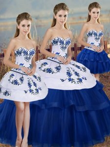 Great Sleeveless Floor Length Embroidery and Bowknot Lace Up Quinceanera Gown with Royal Blue