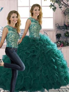 Peacock Green Sleeveless Floor Length Beading and Ruffles Lace Up Sweet 16 Dresses