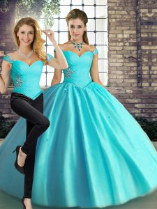 Custom Fit Sleeveless Lace Up Floor Length Beading Quince Ball Gowns