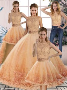 Spectacular Gold and Peach Ball Gowns Tulle Scalloped Sleeveless Lace Backless Quinceanera Dress Sweep Train