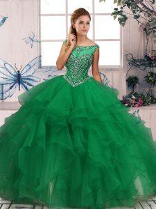 Modern Green Organza Zipper Quinceanera Gowns Sleeveless Floor Length Beading and Ruffles