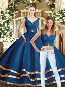 Captivating Floor Length Two Pieces Sleeveless Navy Blue Sweet 16 Dresses Backless