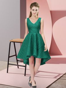 Sexy V-neck Sleeveless Zipper Quinceanera Dama Dress Peacock Green Lace