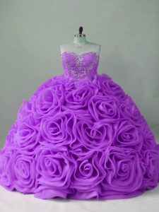 Spectacular Lavender Ball Gowns Beading Quinceanera Dress Lace Up Fabric With Rolling Flowers Sleeveless