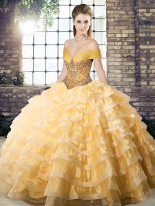 Flare Brush Train Ball Gowns Vestidos de Quinceanera Gold Off The Shoulder Organza Sleeveless Lace Up