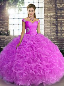 Dynamic Off The Shoulder Sleeveless Lace Up Sweet 16 Dress Lilac Fabric With Rolling Flowers