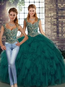 Free and Easy Peacock Green Sleeveless Beading and Ruffles Floor Length 15th Birthday Dress