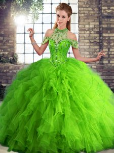 Green Lace Up Ball Gown Prom Dress Beading and Ruffles Sleeveless Floor Length