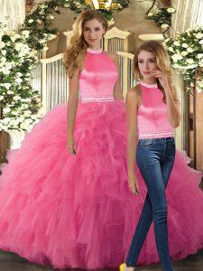 Chic Sleeveless Backless Floor Length Beading and Ruffles Sweet 16 Dress