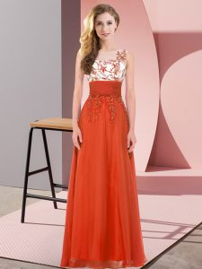 Scoop Sleeveless Dama Dress Floor Length Appliques Rust Red Chiffon