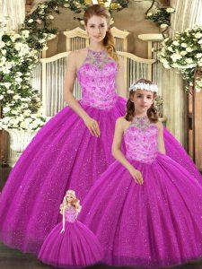 Fuchsia Lace Up Sweet 16 Dress Beading Sleeveless Floor Length