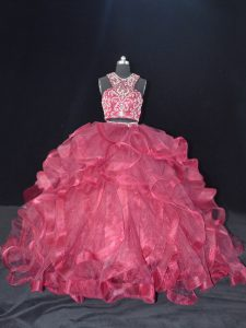 Traditional Organza Scoop Sleeveless Brush Train Backless Beading and Ruffles Quinceanera Dress in Burgundy