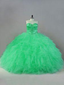 Floor Length Apple Green Quinceanera Dresses Tulle Sleeveless Beading