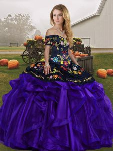 Sleeveless Floor Length Embroidery and Ruffles Lace Up Sweet 16 Dress with Black And Purple