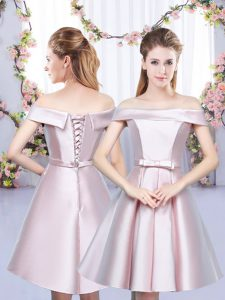 Traditional Floor Length Baby Pink Court Dresses for Sweet 16 Satin Sleeveless Bowknot