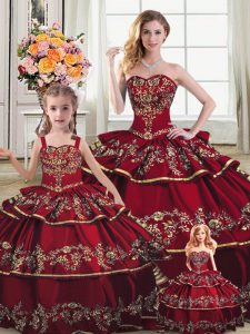 Wine Red Lace Up Sweetheart Embroidery and Ruffled Layers Sweet 16 Dress Satin and Organza Sleeveless