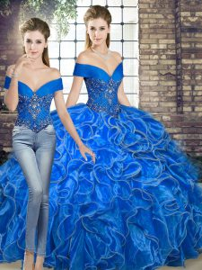 Luxury Two Pieces Quince Ball Gowns Royal Blue Off The Shoulder Organza Sleeveless Floor Length Lace Up
