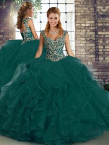 Straps Sleeveless Lace Up Sweet 16 Dress Peacock Green Tulle