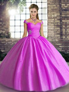 Admirable Sleeveless Lace Up Floor Length Beading Quinceanera Gown
