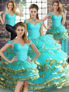 Aqua Blue Lace Up Off The Shoulder Beading and Ruffled Layers Ball Gown Prom Dress Tulle Sleeveless